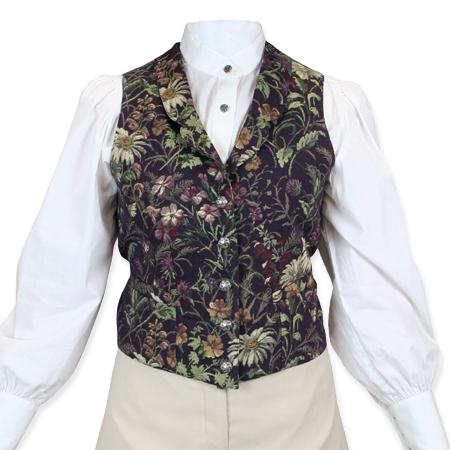 Wedding Ladies Purple Floral Notch Collar Dress Vest | Formal | Bridal | Prom | Tuxedo || Sheridan Vest-Purple