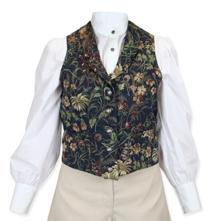 Victorian Ladies Blue Floral Notch Collar Dress Vest | Dickens | Downton Abbey | Edwardian || Sheridan Vest-Navy