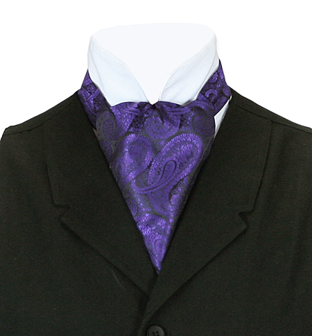 Vintage Mens Purple Paisley Ascot | Romantic | Old Fashioned | Traditional | Classic || Paisley Ascot - Deep Purple