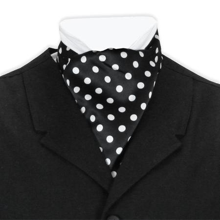 Victorian Mens Black,White Geometric Ascot | Dickens | Downton Abbey | Edwardian || Satin Ascot - Spotted Black and White