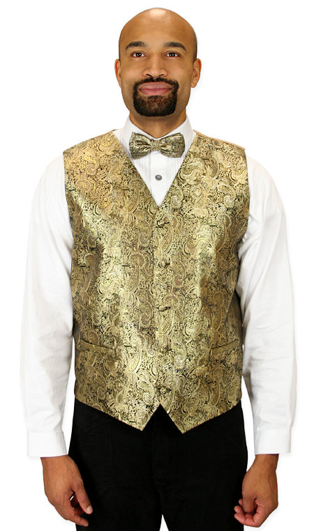 1800s Mens Gold Paisley No Collar Dress Vest | 19th Century | Historical | Period Clothing | Theatrical || Showman Vest and 2 Ties Set - Gold