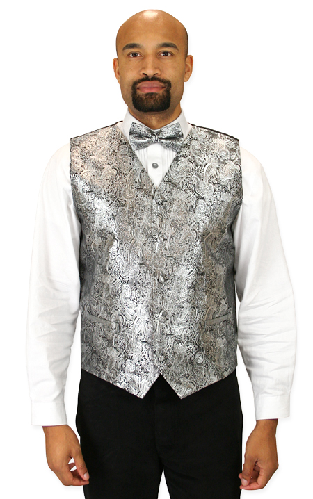 Vintage Mens Silver Paisley No Collar Dress Vest | Romantic | Old Fashioned | Traditional | Classic || Showman Vest and 2 Ties Set - Silver