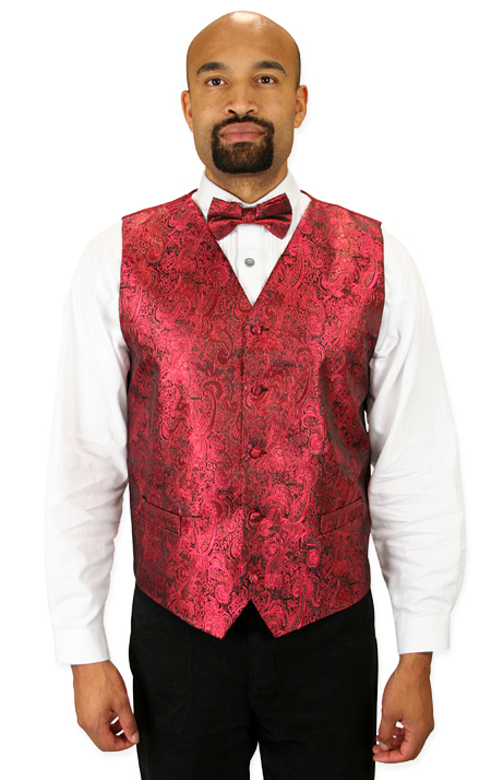 Vintage Mens Red Paisley No Collar Dress Vest | Romantic | Old Fashioned | Traditional | Classic || Showman Vest and 2 Ties Set - Red