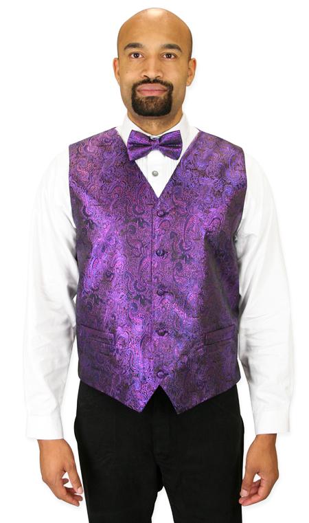 Wedding Mens Purple Paisley No Collar Dress Vest | Formal | Bridal | Prom | Tuxedo || Showman Vest and 2 Ties Set - Purple