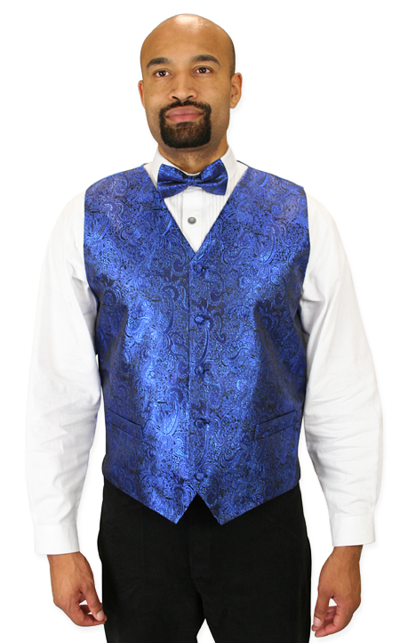 Wedding Mens Blue Paisley No Collar Dress Vest | Formal | Bridal | Prom | Tuxedo || Showman Vest and 2 Ties Set - Royal