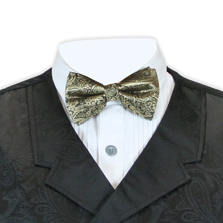 Victorian Mens Gold Paisley Bow Tie | Dickens | Downton Abbey | Edwardian || Showman Bow Tie - Gold