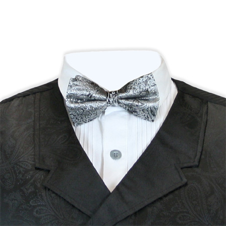 Victorian Mens Silver Paisley Bow Tie | Dickens | Downton Abbey | Edwardian || Showman Bow Tie - Silver