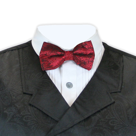 Steampunk Mens Red Paisley Bow Tie | Gothic | Pirate | LARP | Cosplay | Retro | Vampire || Showman Bow Tie - Red