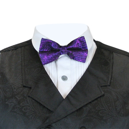Steampunk Mens Purple Paisley Bow Tie | Gothic | Pirate | LARP | Cosplay | Retro | Vampire || Showman Bow Tie - Purple