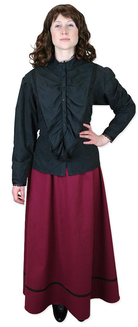 Victorian Ladies Black Cotton,Lace Solid Band Collar Blouse   Dickens   Downton Abbey   Edwardian    Lingerie Lace Blouse - Black