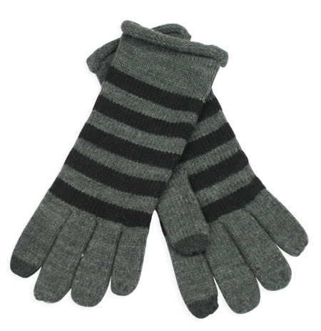 Victorian Ladies Gray,Black Stripe Gloves | Dickens | Downton Abbey | Edwardian || Knit Striped Gloves - Gray/Black