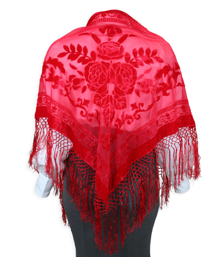 Steampunk Ladies Red Floral Shawl | Gothic | Pirate | LARP | Cosplay | Retro | Vampire || Velvet Triangular Shawl - Red