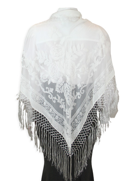 Steampunk Ladies White Floral Shawl | Gothic | Pirate | LARP | Cosplay | Retro | Vampire || Velvet Triangular Shawl - White