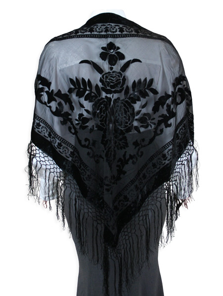 1800s Ladies Black Floral Shawl | 19th Century | Historical | Period Clothing | Theatrical || Velvet Triangular Shawl - Black