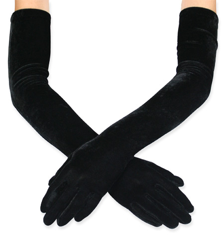 1800s Ladies Black Solid Gloves | 19th Century | Historical | Period Clothing | Theatrical || Opera Length Velvet Gloves - Black