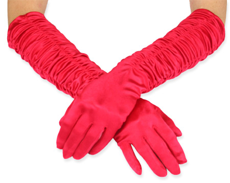 Vintage Ladies Red Solid Gloves | Romantic | Old Fashioned | Traditional | Classic || Opera Length Satin Gloves - Red