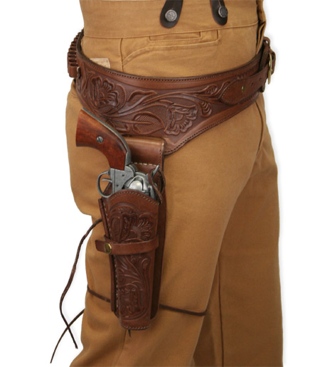 1800s Mens Brown Leather Tooled Gunbelt Holster Combo | 19th Century | Historical | Period Clothing | Theatrical || (.22 cal) Western Gun Belt and Holster - RH Draw - Chocolate Brown Tooled Leather