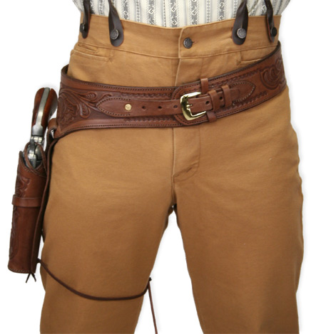 ( 22 cal) Western Gun Belt and Holster - RH Draw - Chocolate Brown Tooled  Leather