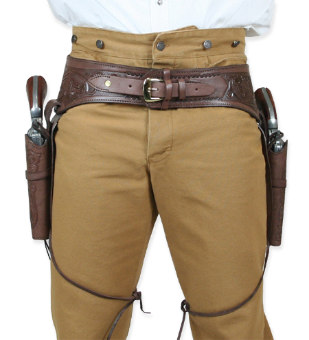 ( 44/ 45 cal) Western Gun Belt and Holster - Double - Chocolate Brown  Tooled Leather