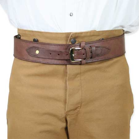 Vintage Mens Brown Leather Un-Tooled Cartridge Belt | Romantic | Old Fashioned | Traditional | Classic || (.44/.45 cal) High-Rider Western Cartridge Belt -  Plain Chocolate Leather