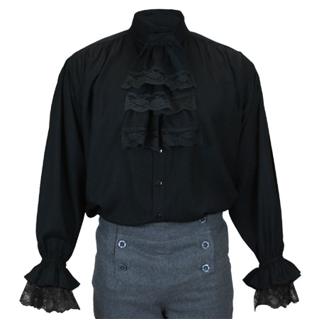 1800s Mens Black Solid Band Collar Dress Shirt | 19th Century | Historical | Period Clothing | Theatrical || Marcus Jabot Shirt - Black