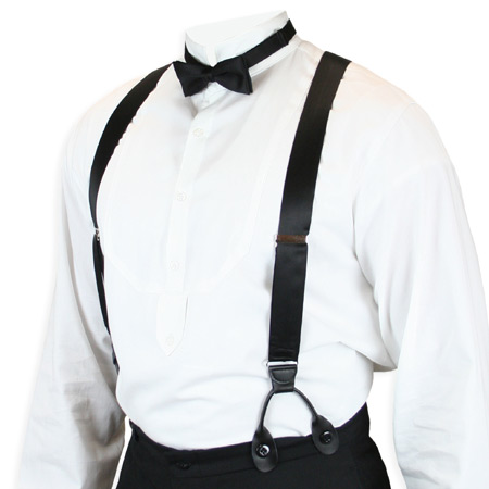 Vintage Mens Black Silk Y-Back Braces Suspenders | Romantic | Old Fashioned | Traditional | Classic || Premium Silk Suspenders - Black Satin Charmeuse