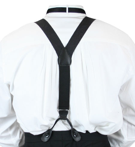 Wedding Mens Black Silk Y-Back Braces Suspenders | Formal | Bridal | Prom | Tuxedo || Premium Silk Suspenders - Black Paisley