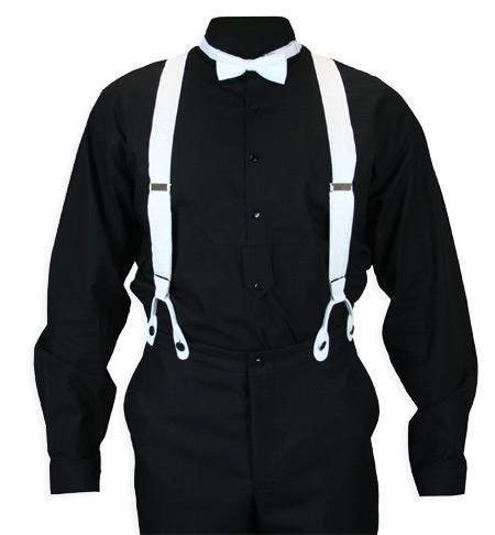 Victorian Mens White Silk Y-Back Braces Suspenders   Dickens   Downton Abbey   Edwardian    Premium Silk Suspenders - White Paisley