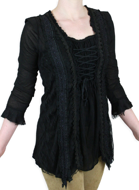 1800s Ladies Black Lacy No Collar Blouse | 19th Century | Historical | Period Clothing | Theatrical || Camilla Blouse - Black