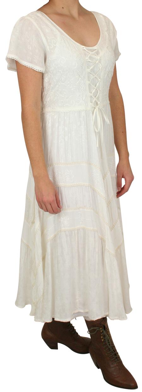 Wedding Ladies White Print Dress | Formal | Bridal | Prom | Tuxedo || Persephone Cap Sleeve Dress - Ivory