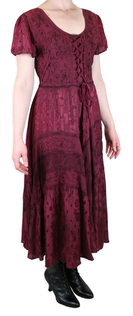 Wedding Ladies Burgundy Print Dress | Formal | Bridal | Prom | Tuxedo || Persephone Cap Sleeve Dress - Burgundy