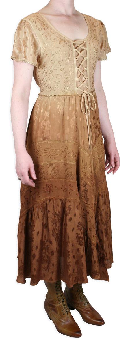 Victorian Ladies Brown Print Dress | Dickens | Downton Abbey | Edwardian || Persephone Cap Sleeve Dress - Brown