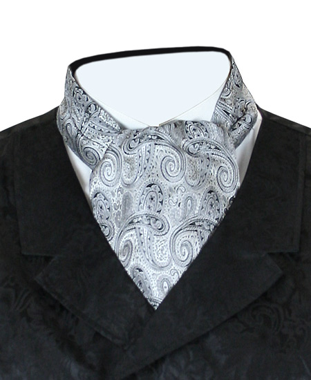 Victorian Mens Silver Paisley Ascot | Dickens | Downton Abbey | Edwardian || Coventry Ascot - Silver / Black Paisley
