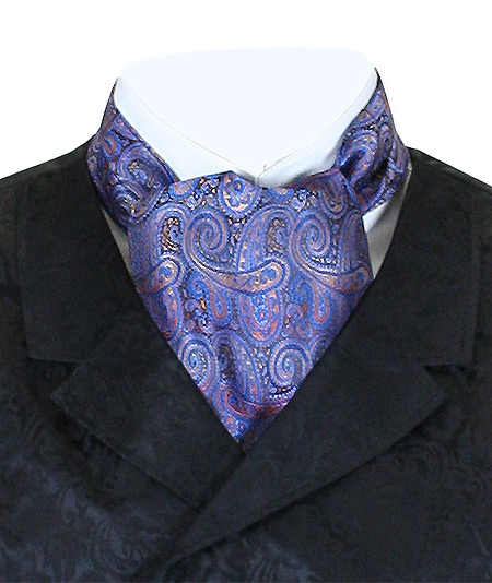 Victorian Mens Multicolor,Blue Paisley Ascot | Dickens | Downton Abbey | Edwardian || Coventry Ascot - Blue / Rust Paisley