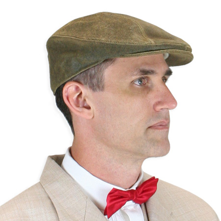 Wedding Mens Brown Leather Cap | Formal | Bridal | Prom | Tuxedo || Driving Cap - Brown Antiqued Leather