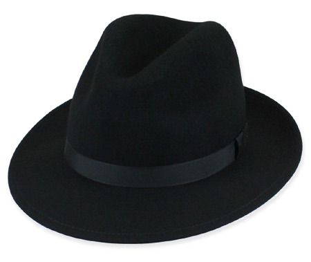 1800s Mens Black Wool Felt Fedora | 19th Century | Historical | Period Clothing | Theatrical || Fedora - Black