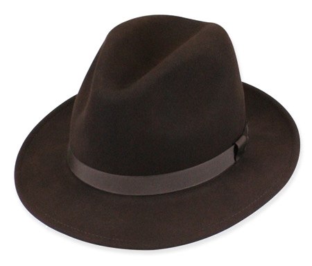 1800s Mens Brown Wool Felt Fedora | 19th Century | Historical | Period Clothing | Theatrical || Fedora - Brown