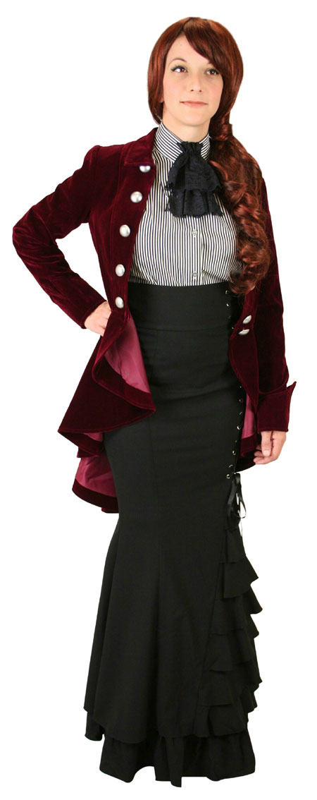 Victorian Ladies Burgundy Velvet Stand Collar Tail Coat | Dickens | Downton Abbey | Edwardian || Velvet Tailcoat - Burgundy