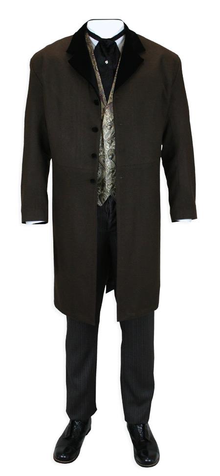 Steampunk Mens Brown Wool,Velvet Solid Notch Collar Frock Coat | Gothic | Pirate | LARP | Cosplay | Retro | Vampire || Davenport Frock Coat - Brown with Black Velvet