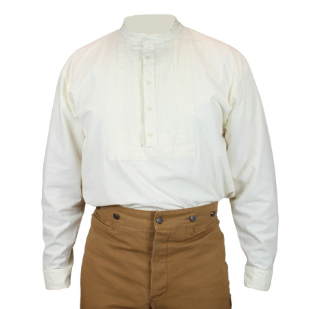 Vintage Mens Ivory Cotton Solid Band Collar Work Shirt | Romantic | Old Fashioned | Traditional | Classic || Gardner Work Shirt - Ivory