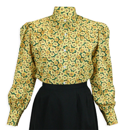 Wedding Ladies Yellow Cotton Floral,Calico Stand Collar Blouse | Formal | Bridal | Prom | Tuxedo || Somerset Blouse - Yellow Floral