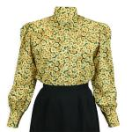 Victorian,Old West, Ladies Blouses Yellow Cotton Floral,Calico Traditional Fit Blouses,Colorful Blouses |Antique, Vintage, Old Fashioned, Wedding, Theatrical, Reenacting Costume |