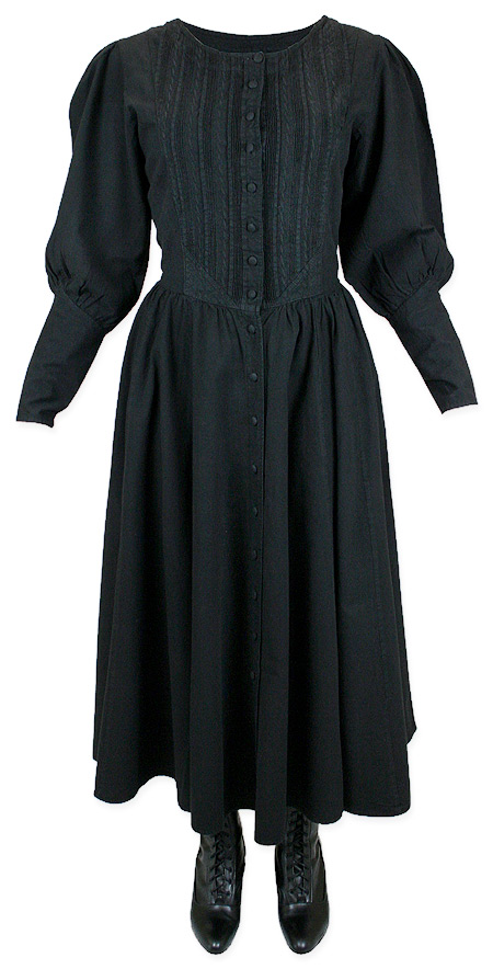 1800s Ladies Black Cotton Solid Dress | 19th Century | Historical | Period Clothing | Theatrical || Cordelia Pioneer Dress - Black