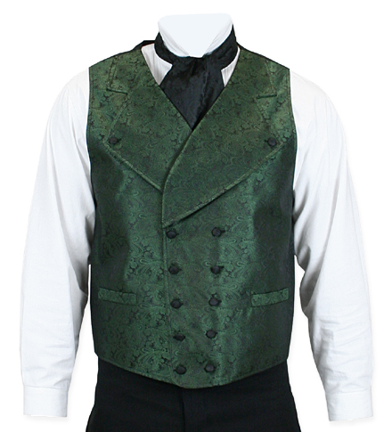 Vintage Mens Green Paisley Notch Collar Dress Vest | Romantic | Old Fashioned | Traditional | Classic || Middlethorpe Vest - Emerald