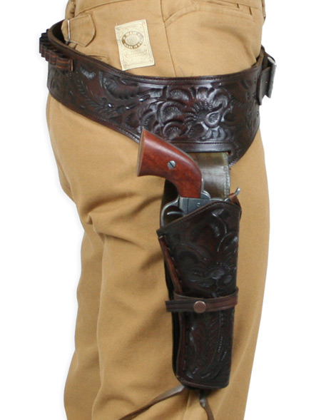 Victorian Mens Brown Leather Tooled Gunbelt Holster Combo | Dickens | Downton Abbey | Edwardian || (.44/.45 cal) Western Gun Belt and Holster - RH Draw - Walnut Tooled Leather