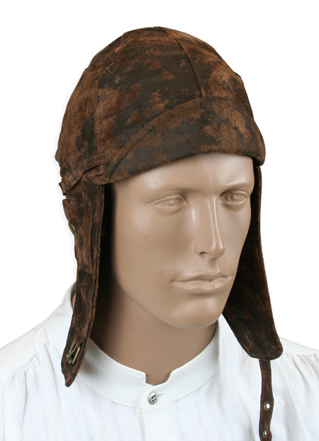 1800s Mens Brown Faux Leather Aviator Helmet | 19th Century | Historical | Period Clothing | Theatrical || Faux Leather Aviator Helmet - Distressed Brown