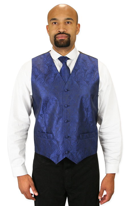 1800s Mens Blue Paisley No Collar Dress Vest | 19th Century | Historical | Period Clothing | Theatrical || Montgomery Vest and 2 Ties Set - Navy
