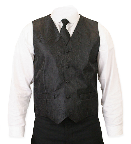 1800s Mens Black Paisley No Collar Dress Vest | 19th Century | Historical | Period Clothing | Theatrical || Montgomery Vest and 2 Ties Set - Black