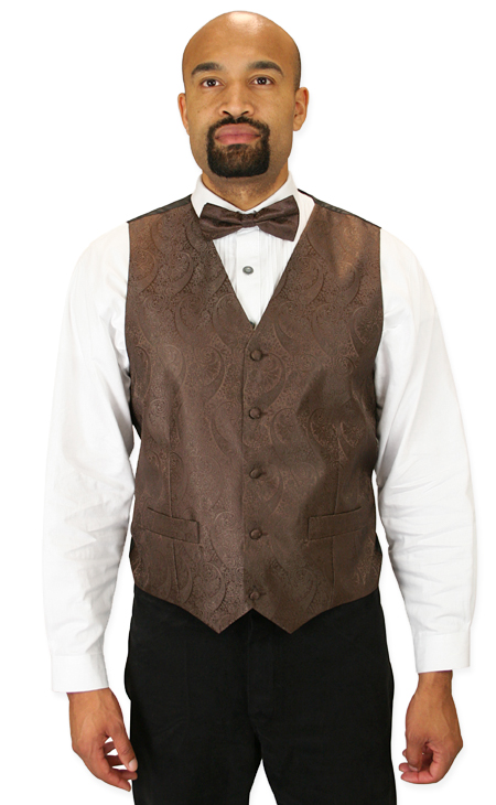 Vintage Mens Brown Paisley No Collar Dress Vest   Romantic   Old Fashioned   Traditional   Classic    Montgomery Vest and 2 Ties Set - Brown