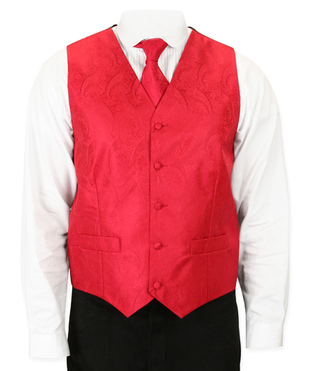 Wedding Mens Red Paisley No Collar Dress Vest | Formal | Bridal | Prom | Tuxedo || Montgomery Vest and Tie Set - Red